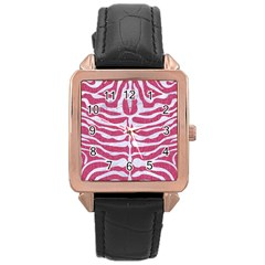 Skin2 White Marble & Pink Denim Rose Gold Leather Watch  by trendistuff