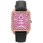 SKIN2 WHITE MARBLE & PINK DENIM Rose Gold Leather Watch  Front