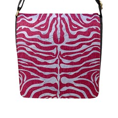Skin2 White Marble & Pink Denim Flap Messenger Bag (l)
