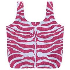 Skin2 White Marble & Pink Denim Full Print Recycle Bags (l)