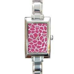 SKIN1 WHITE MARBLE & PINK DENIM (R) Rectangle Italian Charm Watch