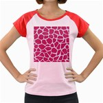 SKIN1 WHITE MARBLE & PINK DENIM (R) Women s Cap Sleeve T-Shirt Front