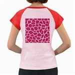 SKIN1 WHITE MARBLE & PINK DENIM (R) Women s Cap Sleeve T-Shirt Back