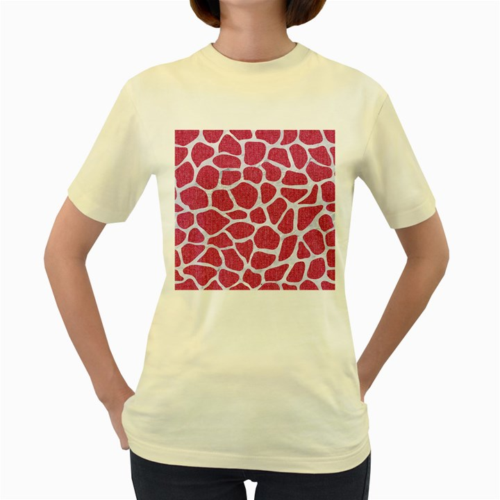 SKIN1 WHITE MARBLE & PINK DENIM (R) Women s Yellow T-Shirt