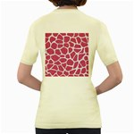 SKIN1 WHITE MARBLE & PINK DENIM (R) Women s Yellow T-Shirt Back