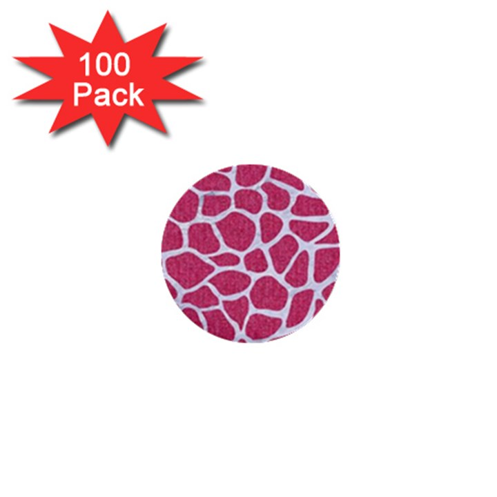 SKIN1 WHITE MARBLE & PINK DENIM (R) 1  Mini Buttons (100 pack)