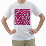 SKIN1 WHITE MARBLE & PINK DENIM (R) Men s T-Shirt (White) (Two Sided) Front