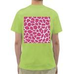 SKIN1 WHITE MARBLE & PINK DENIM (R) Green T-Shirt Back