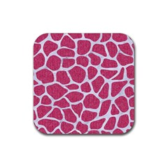 Skin1 White Marble & Pink Denim (r) Rubber Square Coaster (4 Pack)
