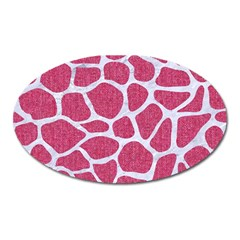 SKIN1 WHITE MARBLE & PINK DENIM (R) Oval Magnet