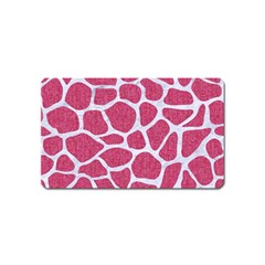 Skin1 White Marble & Pink Denim (r) Magnet (name Card)