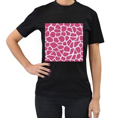 Skin1 White Marble & Pink Denim (r) Women s T Shirt (black) (two Sided)