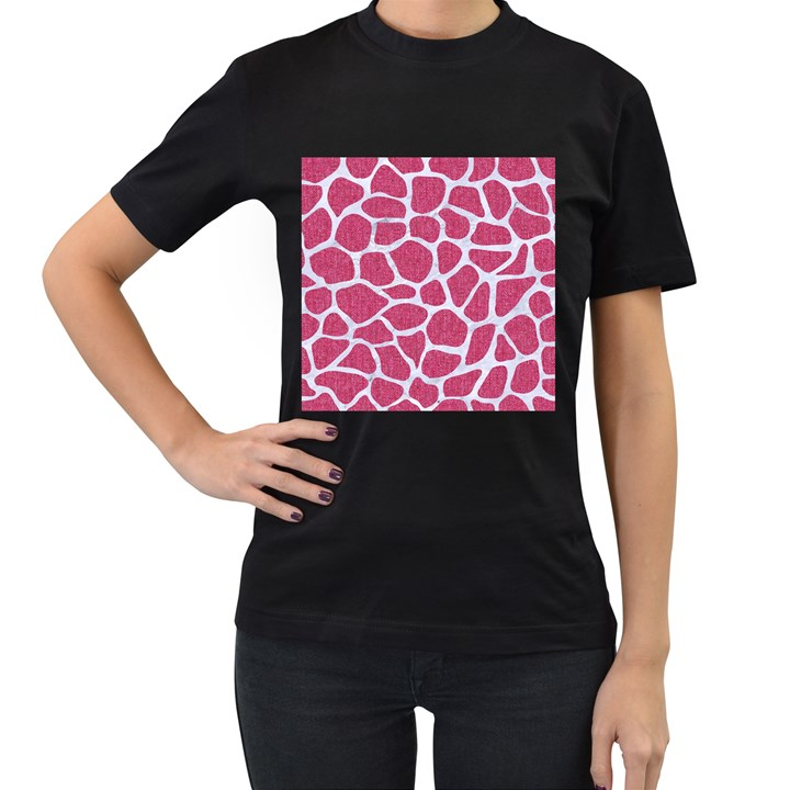 SKIN1 WHITE MARBLE & PINK DENIM (R) Women s T-Shirt (Black) (Two Sided)