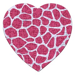 SKIN1 WHITE MARBLE & PINK DENIM (R) Jigsaw Puzzle (Heart)