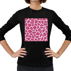 Skin1 White Marble & Pink Denim (r) Women s Long Sleeve Dark T Shirts