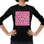 SKIN1 WHITE MARBLE & PINK DENIM (R) Women s Long Sleeve Dark T-Shirts Front