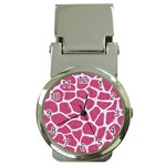 SKIN1 WHITE MARBLE & PINK DENIM (R) Money Clip Watches Front