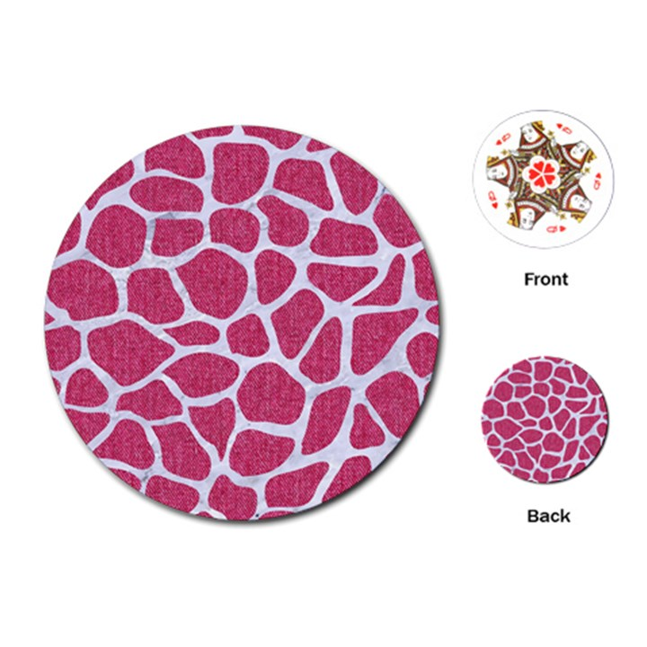 SKIN1 WHITE MARBLE & PINK DENIM (R) Playing Cards (Round)