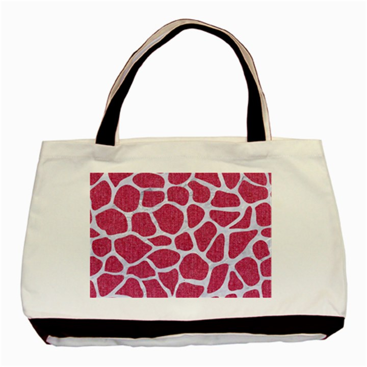 SKIN1 WHITE MARBLE & PINK DENIM (R) Basic Tote Bag