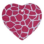 SKIN1 WHITE MARBLE & PINK DENIM (R) Heart Ornament (Two Sides) Front