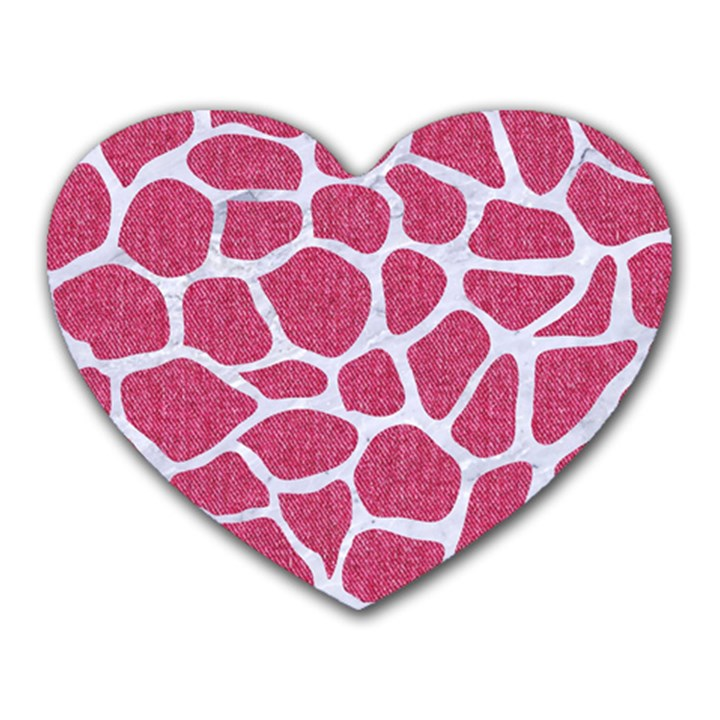 SKIN1 WHITE MARBLE & PINK DENIM (R) Heart Mousepads