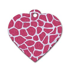 SKIN1 WHITE MARBLE & PINK DENIM (R) Dog Tag Heart (One Side)