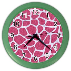 SKIN1 WHITE MARBLE & PINK DENIM (R) Color Wall Clocks