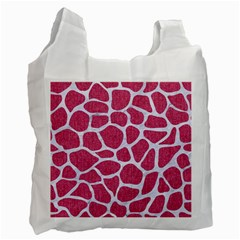 SKIN1 WHITE MARBLE & PINK DENIM (R) Recycle Bag (One Side)