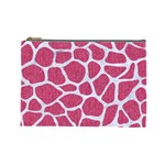 SKIN1 WHITE MARBLE & PINK DENIM (R) Cosmetic Bag (Large)  Front