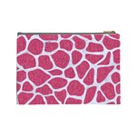 SKIN1 WHITE MARBLE & PINK DENIM (R) Cosmetic Bag (Large)  Back