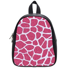 SKIN1 WHITE MARBLE & PINK DENIM (R) School Bag (Small)