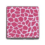 SKIN1 WHITE MARBLE & PINK DENIM (R) Memory Card Reader (Square) Front