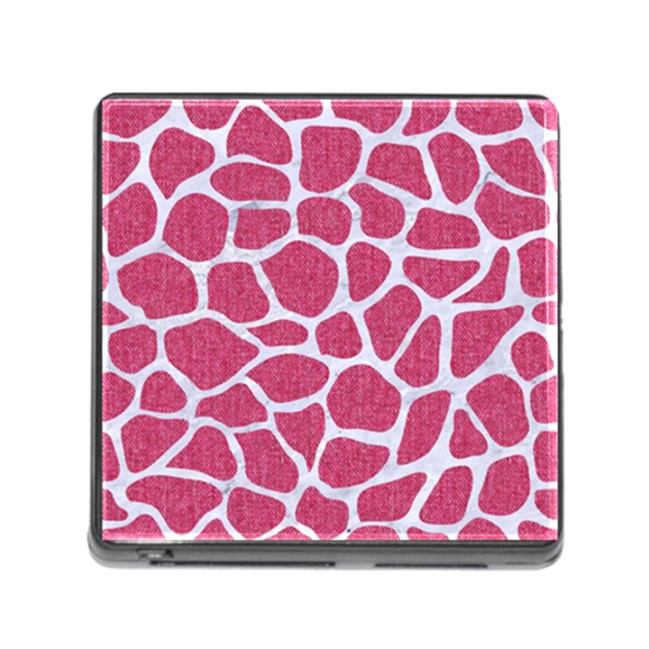 SKIN1 WHITE MARBLE & PINK DENIM (R) Memory Card Reader (Square)