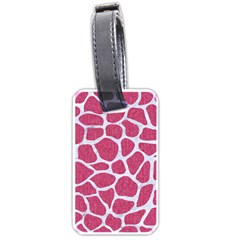 Skin1 White Marble & Pink Denim (r) Luggage Tags (one Side)