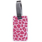SKIN1 WHITE MARBLE & PINK DENIM (R) Luggage Tags (Two Sides) Back