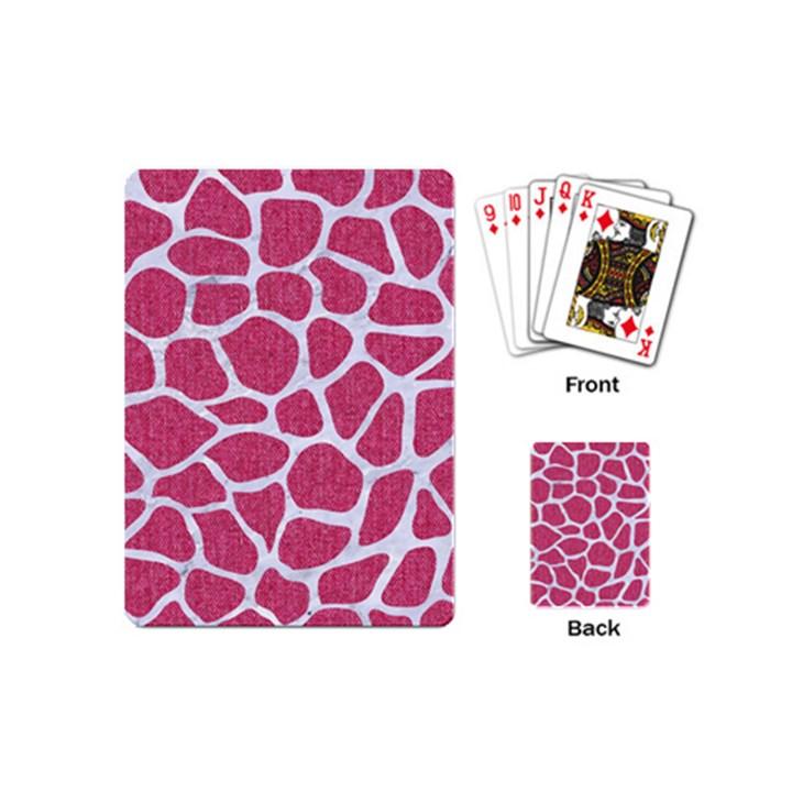 SKIN1 WHITE MARBLE & PINK DENIM (R) Playing Cards (Mini)