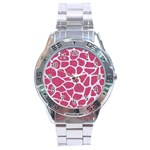 SKIN1 WHITE MARBLE & PINK DENIM (R) Stainless Steel Analogue Watch Front