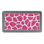 SKIN1 WHITE MARBLE & PINK DENIM (R) Memory Card Reader (Mini) Front