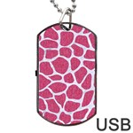 SKIN1 WHITE MARBLE & PINK DENIM (R) Dog Tag USB Flash (Two Sides) Front