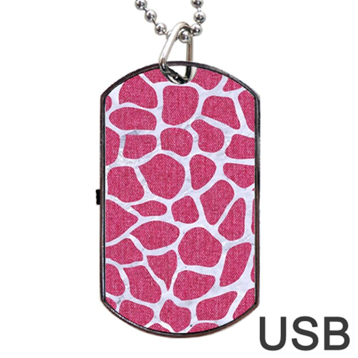 SKIN1 WHITE MARBLE & PINK DENIM (R) Dog Tag USB Flash (Two Sides)