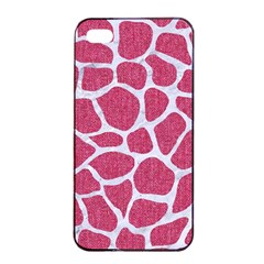 SKIN1 WHITE MARBLE & PINK DENIM (R) Apple iPhone 4/4s Seamless Case (Black)