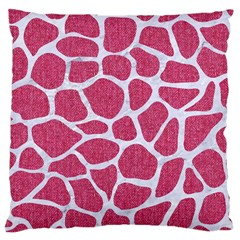 Skin1 White Marble & Pink Denim (r) Large Cushion Case (two Sides)