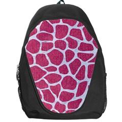 Skin1 White Marble & Pink Denim (r) Backpack Bag by trendistuff