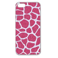 SKIN1 WHITE MARBLE & PINK DENIM (R) Apple Seamless iPhone 5 Case (Clear)