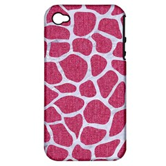 SKIN1 WHITE MARBLE & PINK DENIM (R) Apple iPhone 4/4S Hardshell Case (PC+Silicone)