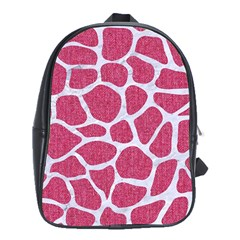Skin1 White Marble & Pink Denim (r) School Bag (xl) by trendistuff