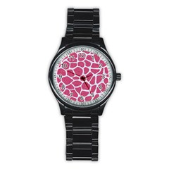 Skin1 White Marble & Pink Denim (r) Stainless Steel Round Watch