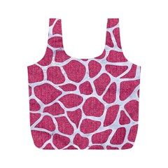 SKIN1 WHITE MARBLE & PINK DENIM (R) Full Print Recycle Bags (M)