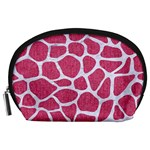 SKIN1 WHITE MARBLE & PINK DENIM (R) Accessory Pouches (Large)  Front