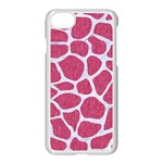 SKIN1 WHITE MARBLE & PINK DENIM (R) Apple iPhone 8 Seamless Case (White) Front